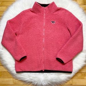 PINK Sherpa Fuzzy Jacket Cosmic Neon Coral Pink